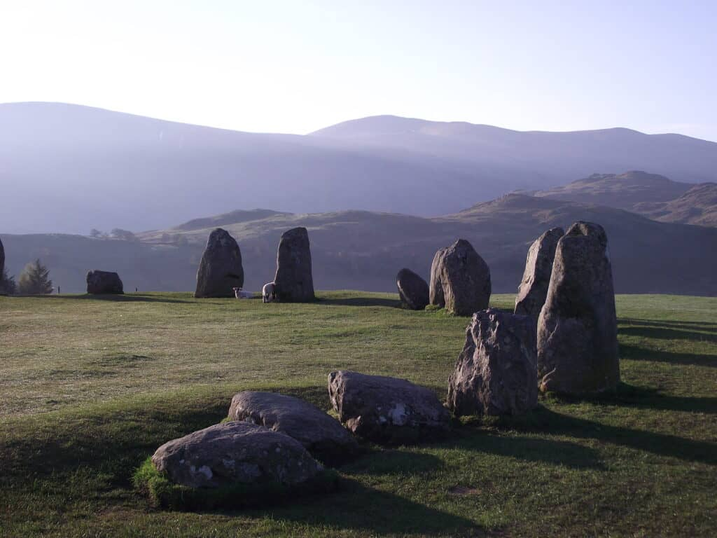 Castlerigg Stone Circle in the Lake District, Cumbria. In the early morning sun