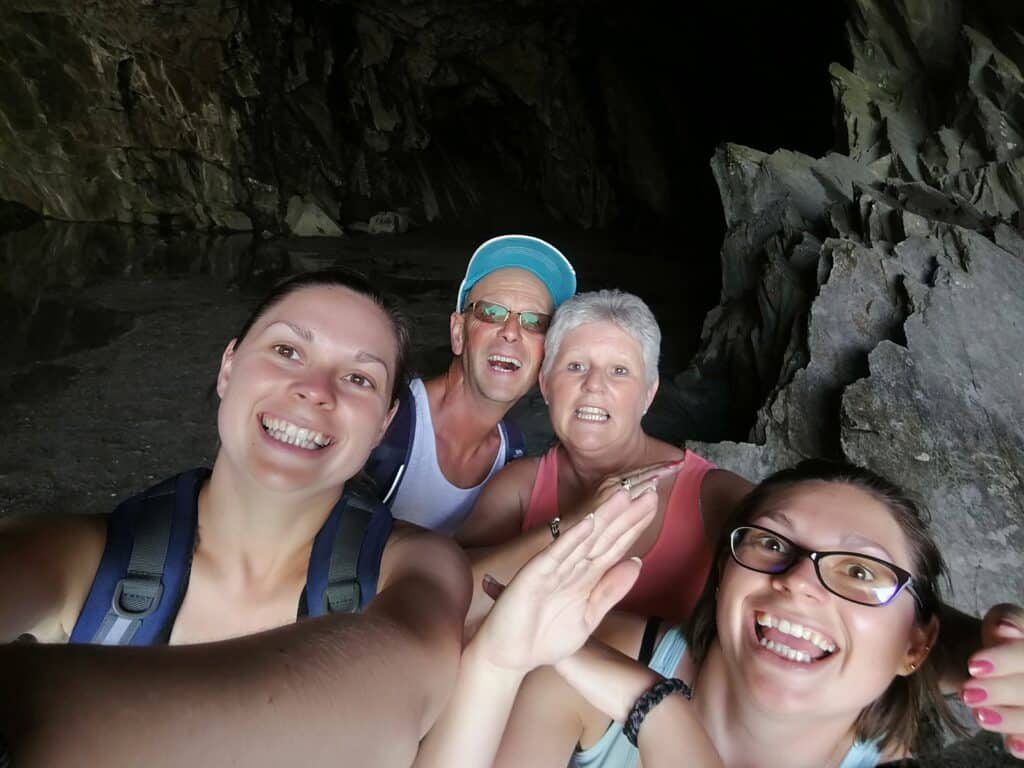 Family photo inside Rydal Cave on our Loughrigg Fell walk