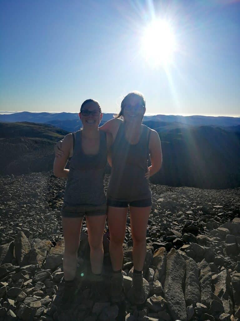 True Freedom Seekers / Hazel and Zoe at the top of Scafell Pike, a Wainwright in the Lake District
