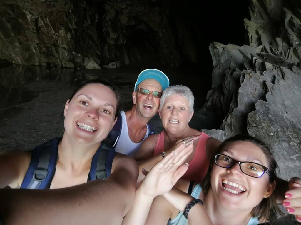 Hazel and Zoe's family in Rydal Cave near Grasmere in the Lake District