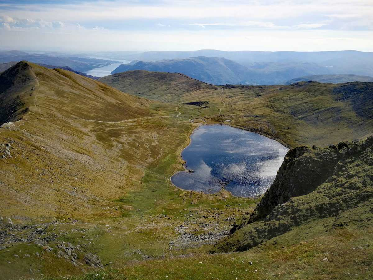 Swirral Edge and Red Tarn from to summit of Helvellyn, one of the 214 Wainwrights