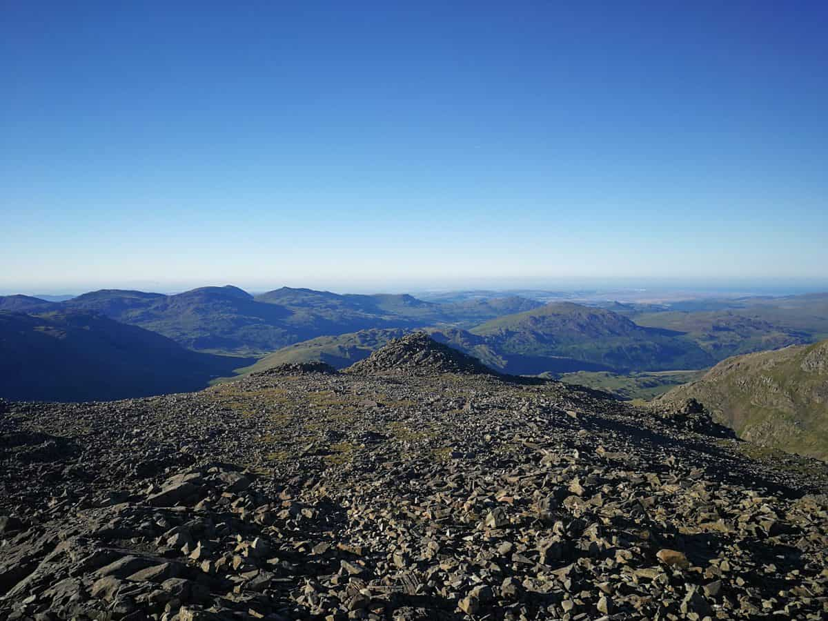 Looking out from the top of Scafell Pike