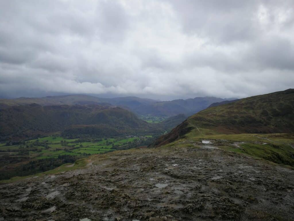 Southern views from Cat Bells of Castle Crag and Maiden Moor