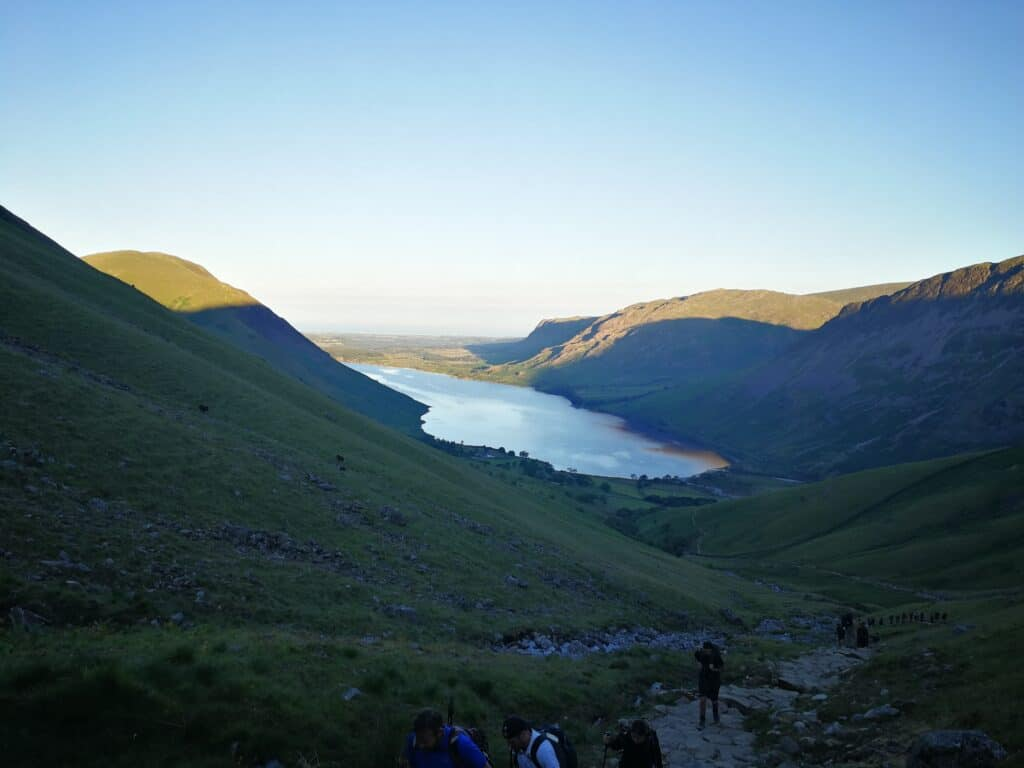 Sun coming up over Wast Water on our walk up Scafell Pike