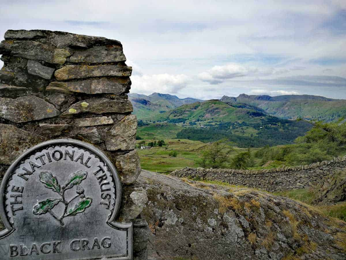 Trig point of Black Crag in the Lake District