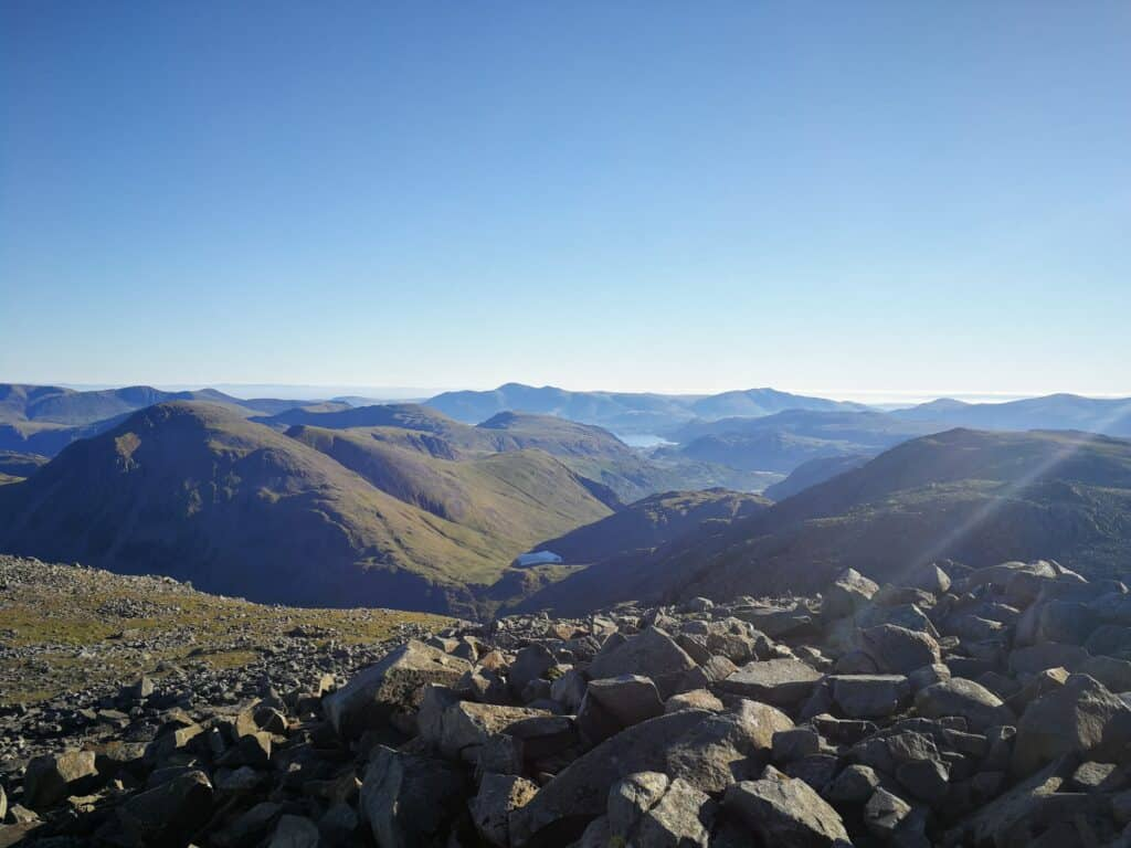 View from the highest point in England, Hazel and Zoe's birthday walk up Scafell Pike