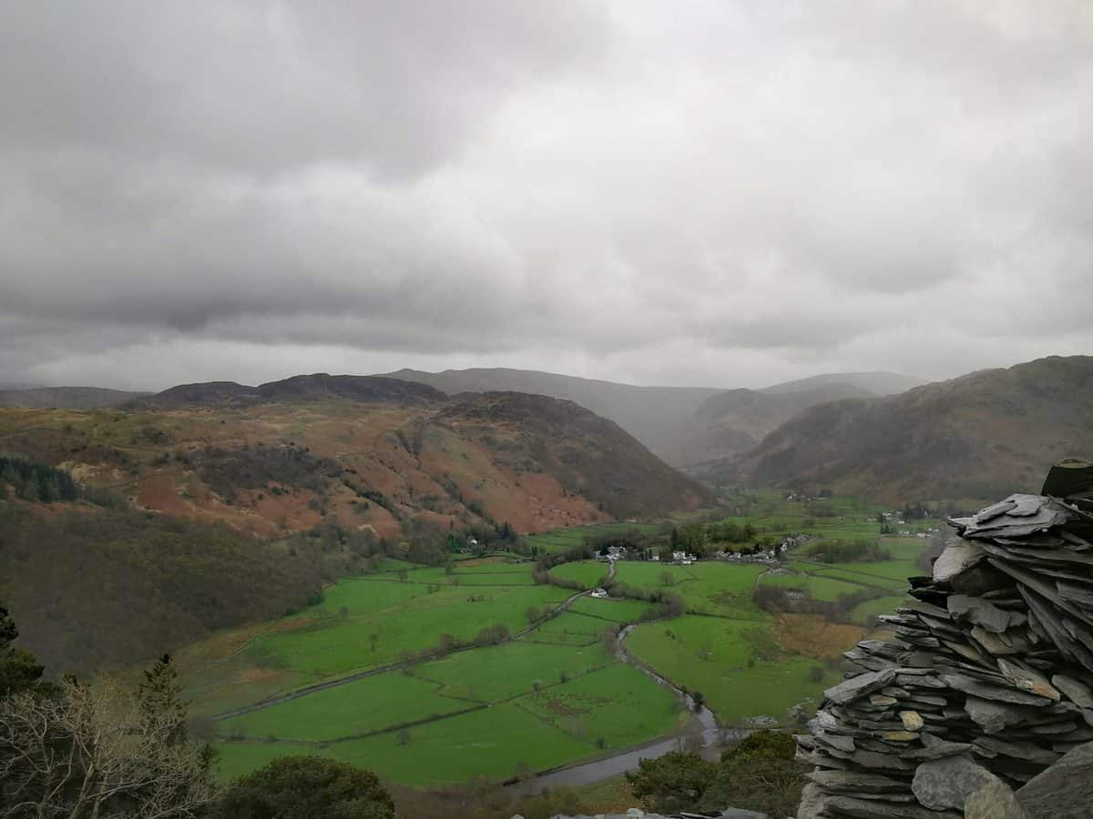 Views looking down Borrowdale Valley from Castle Crag in the Lake District