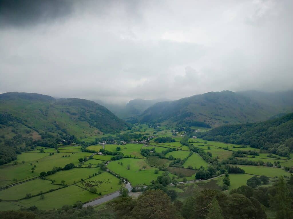 Borrowdale Valley in the Lake District. One of the wettest places in England