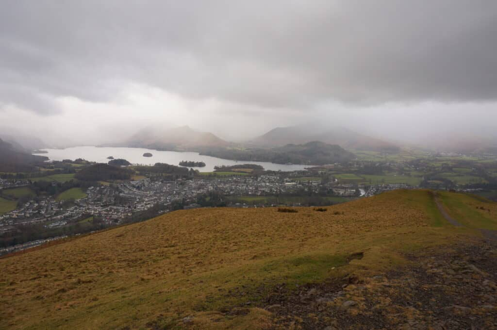 Derwent Water and what would be Grasmoor, Grisdale Pike and Whinlatter in the Lake District