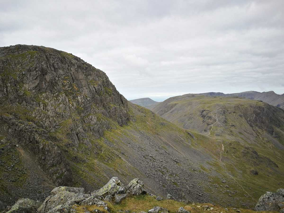 From Green Gable, on the left is Great Gable and directly in front is Kirk Fell the final Wainwright of the walk from Honister
