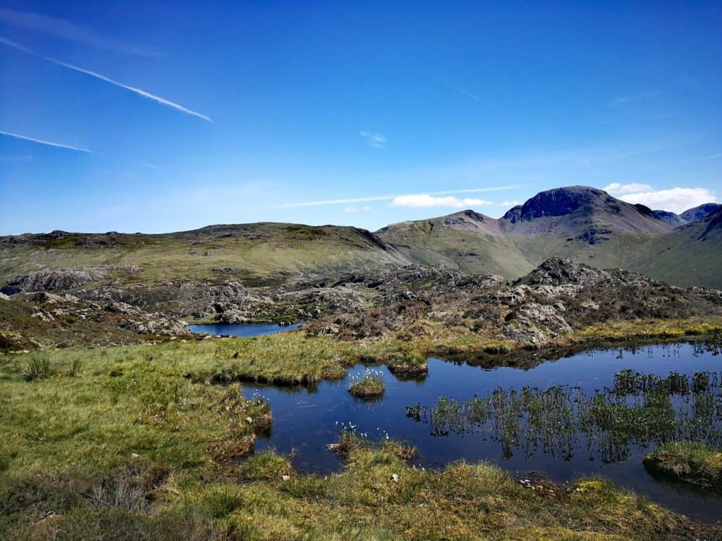 Innominate Tarn, where Alfred Wainwrights ashes were scattered. With Great Gable in the background