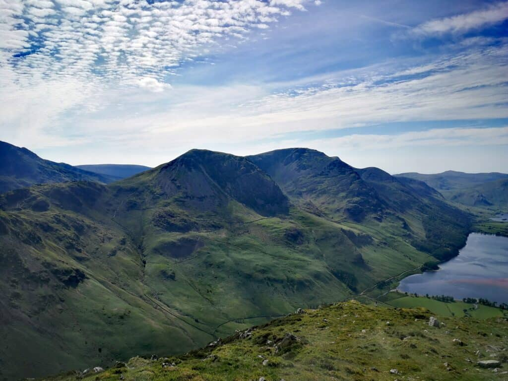 Looking over to the other Wainwrights at Buttermere from Fleetwith Pike including Haystacks on our walk