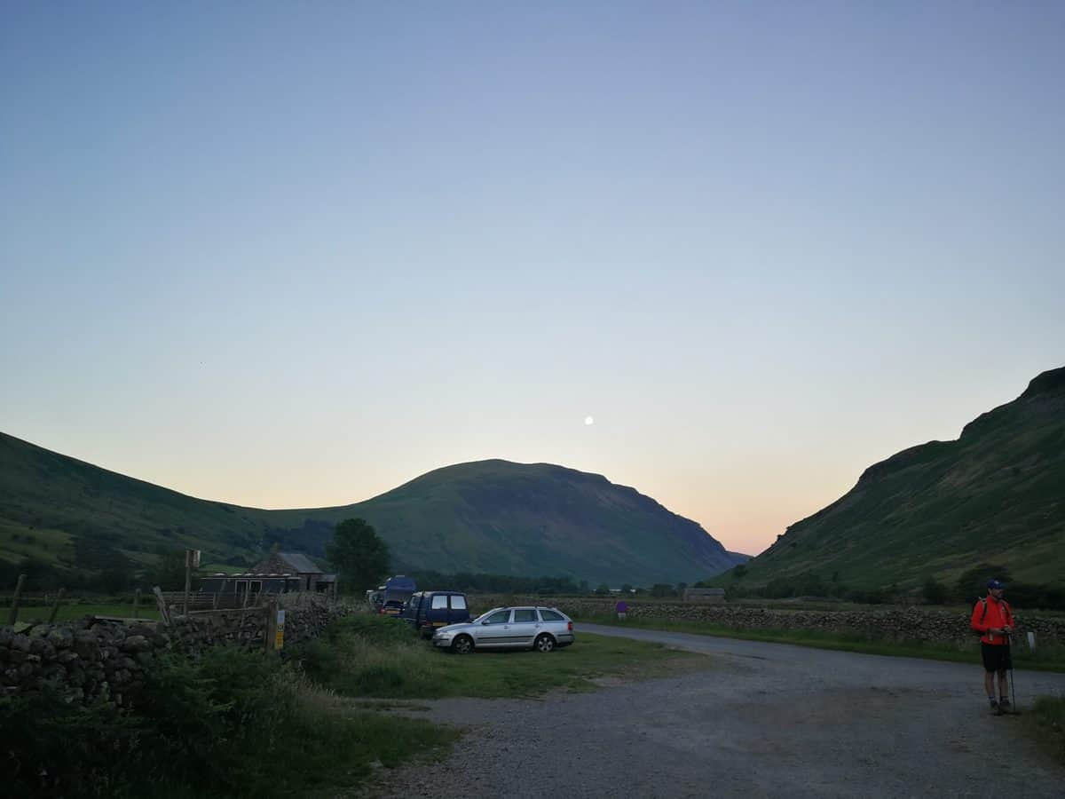 Parking at Wasdale Head village green in the Lake District
