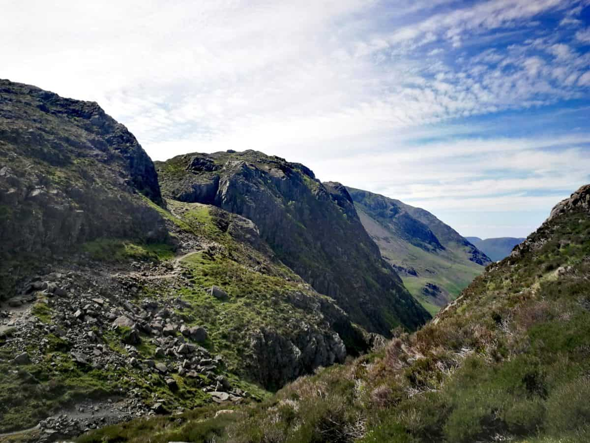 Path between Haystacks and Fleetwith Pike Fells in the Lake District