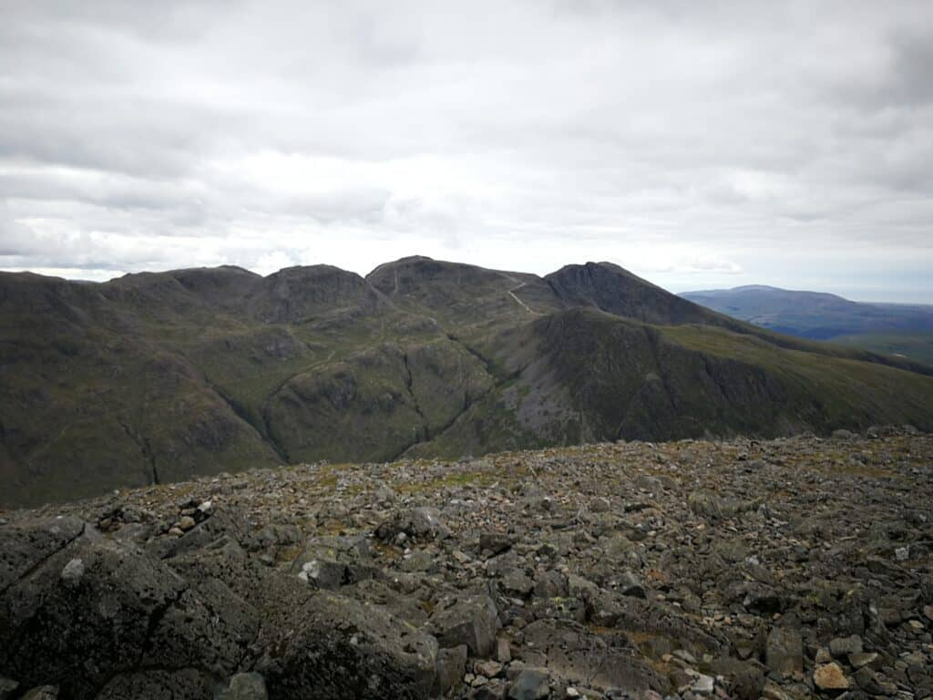 Scafell Pike and Lingmell Wainwrights from the summit of Great Gable