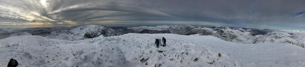 Scafell Pike in winter mountain weather