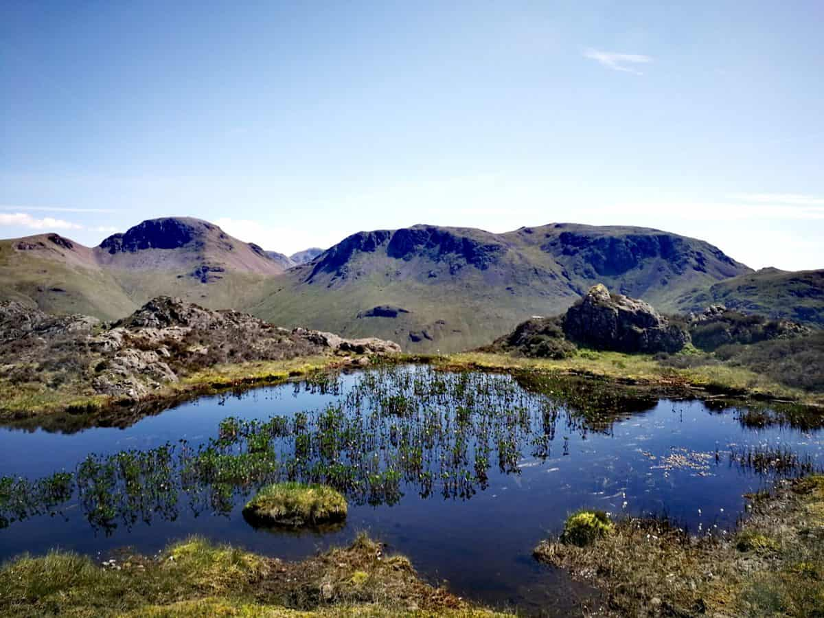 Innominate Tarn on the top of Haystacks, one of thee 214 Wainwrights in the Lake District