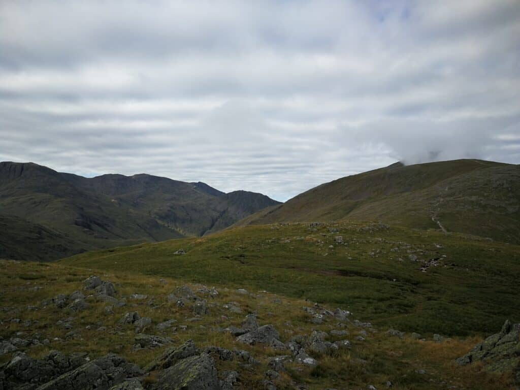 The path back to Green Gable and Great Gable from Base Brown