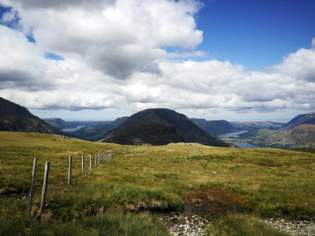 The sun coming back out as we got to the fence line on our Great Gable walk from Honister