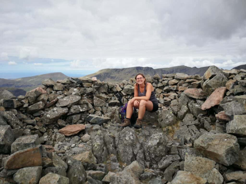 Tired on Kirk Fell at the shelter cairn