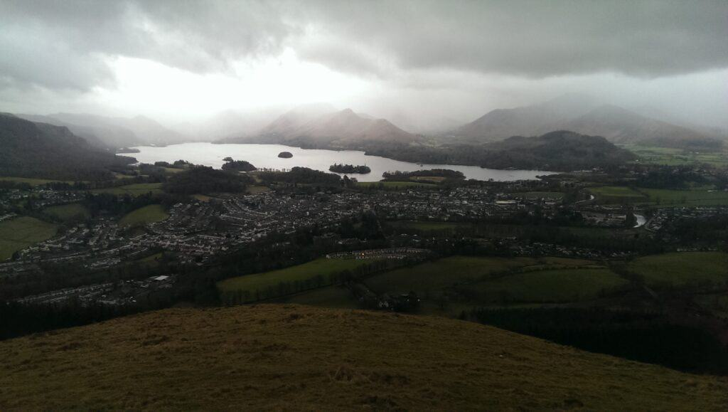 View from the bench on Latrigg, overlooking Derwent Water and below, Keswick