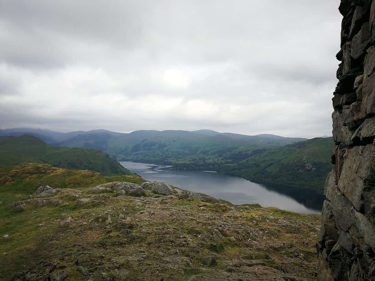 View from the top of Hallin Fell Wainwright in the Lake District, overlooking Ullswater