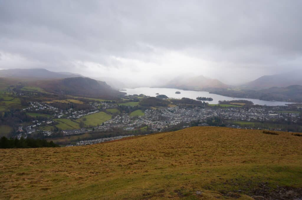 View of Walla Crag, Derwent Water and Catbells on our Latrigg walk