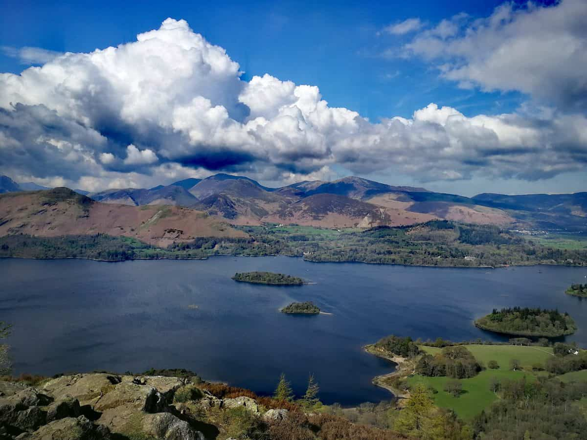 Views from Walla Crag overlooking Derwent Water in the Lake District