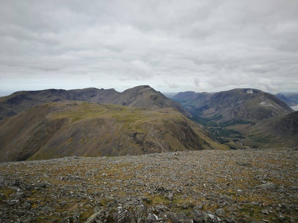 Views to the west of Great Gable, the summit in the Lake District