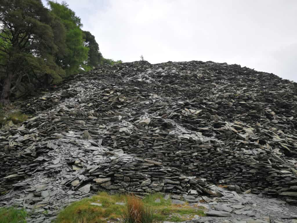 Zig-zag slate up to the nearly summit of Castle Crag in the Lake District