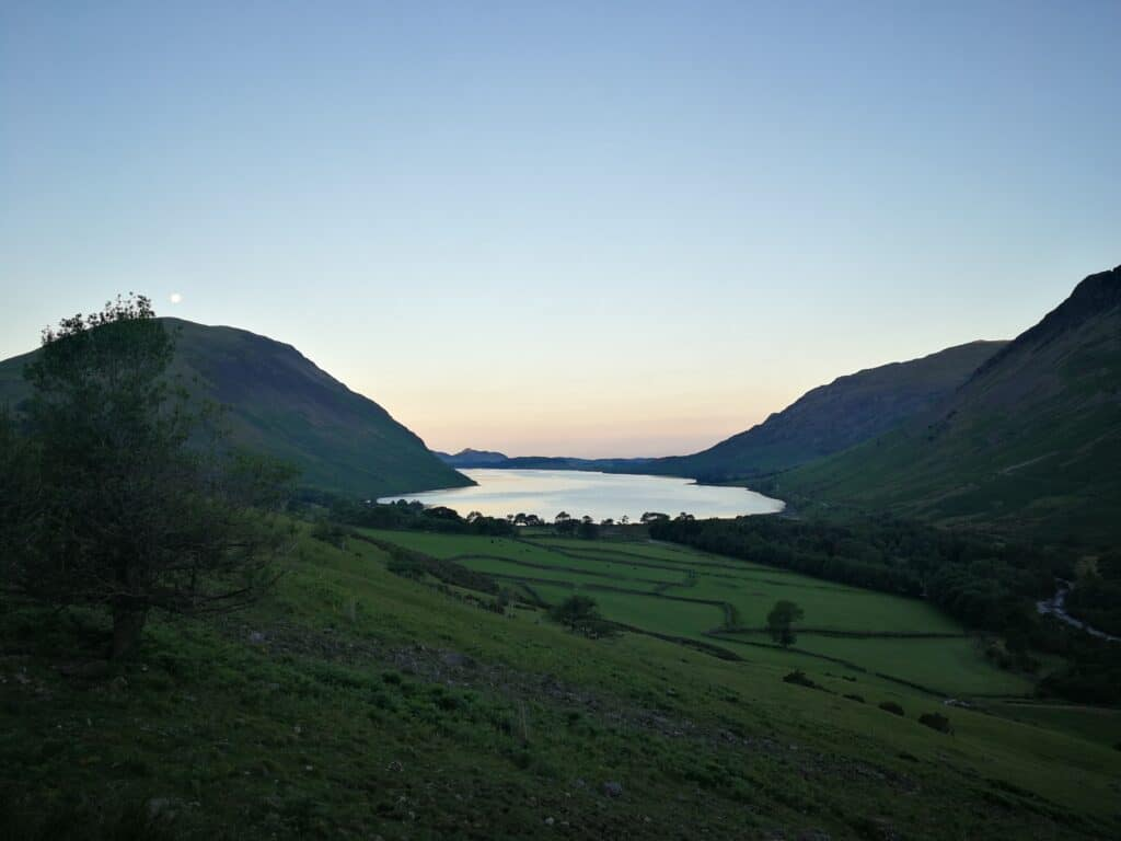 Beautiful view over Wast Water on our walk up to Scafell Pike for our birthday!