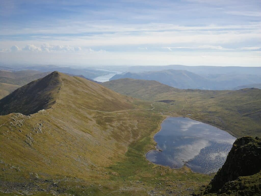Catstye Cam on the left with Swirral Edge ridge from Helvellyn
