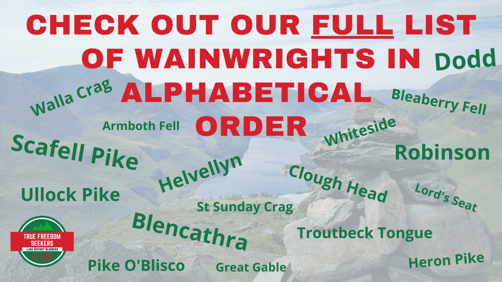 List of 214 Wainwrights in alphabetical order