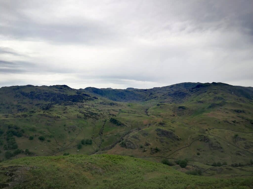 From Helm Crag, with views to the east of Heron Pike, another fantastic walk in the Lake District