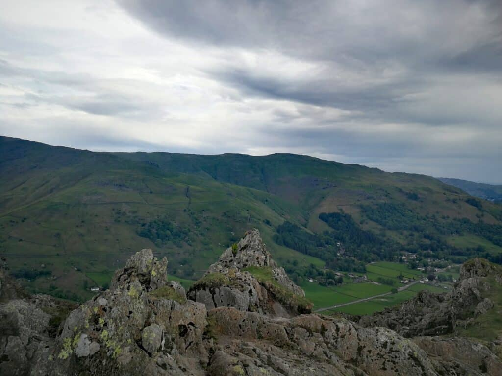 From the craggy top of Helm Fell looking towards Heron Pike and Nab Scar