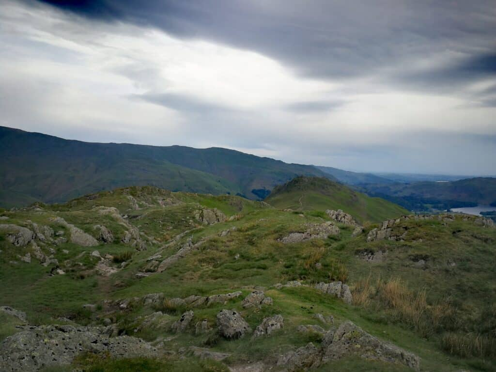From the summit of Gibson Knott, looking on the ridge towards Helm Crag, with Grasmere to the right