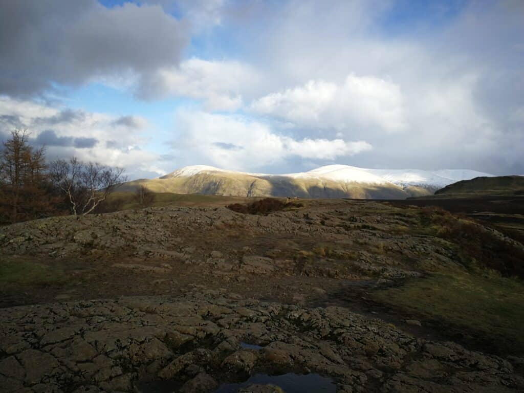 From the summit of Walla Crag, looking out towards Skiddaw, Lonscale Fell and Blencathra. Also Wainwrights.