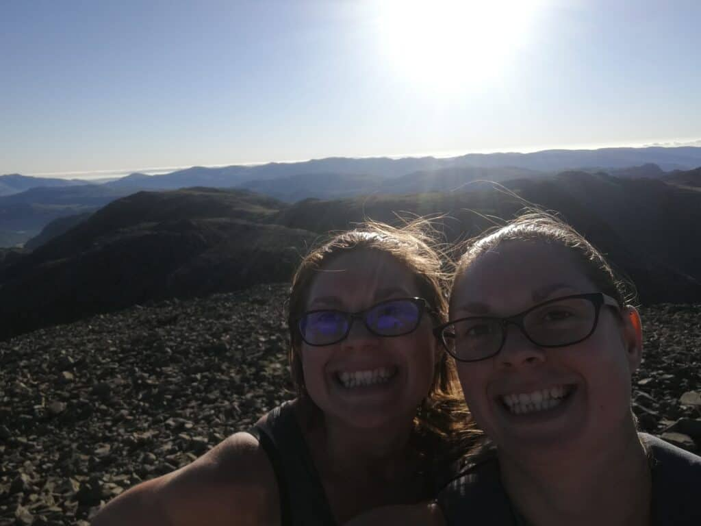 Hazel and Zoe at the top of Scafell Pike, happy birthday sister.