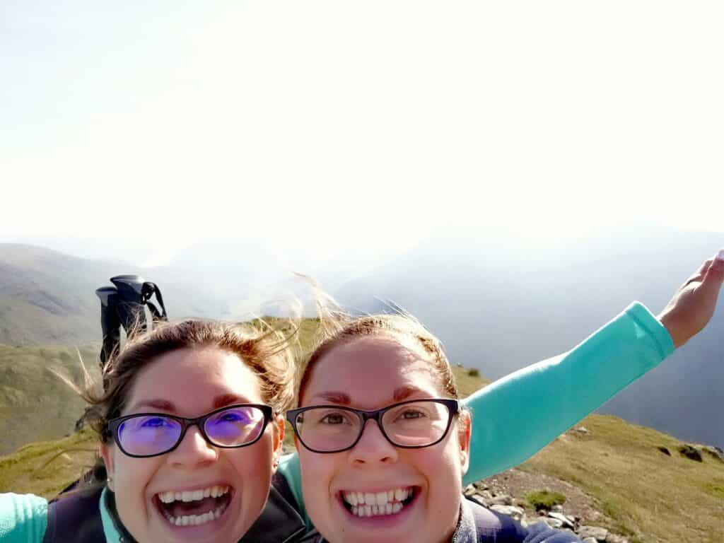 Hazel and Zoe on Dollywaggon Pike in the Lake District being True Freedom Seekers
