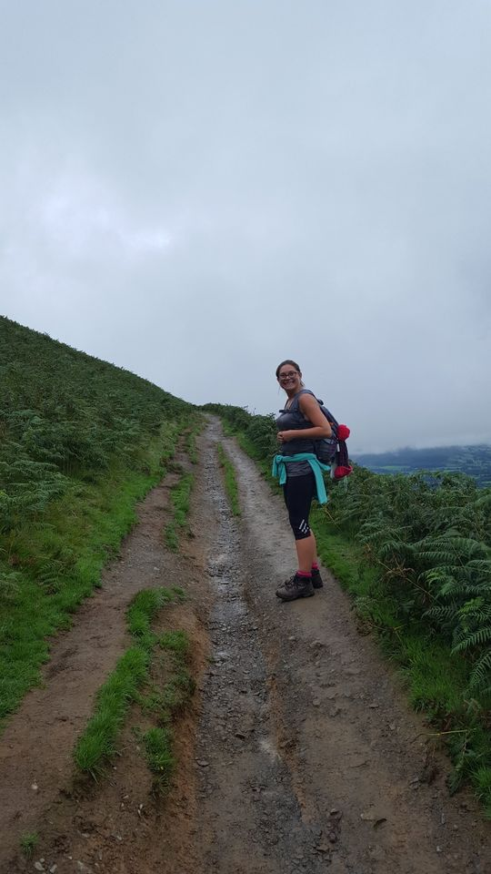 Hazel on her way up the zig-zags towards the summit of Latrigg in the Lake District