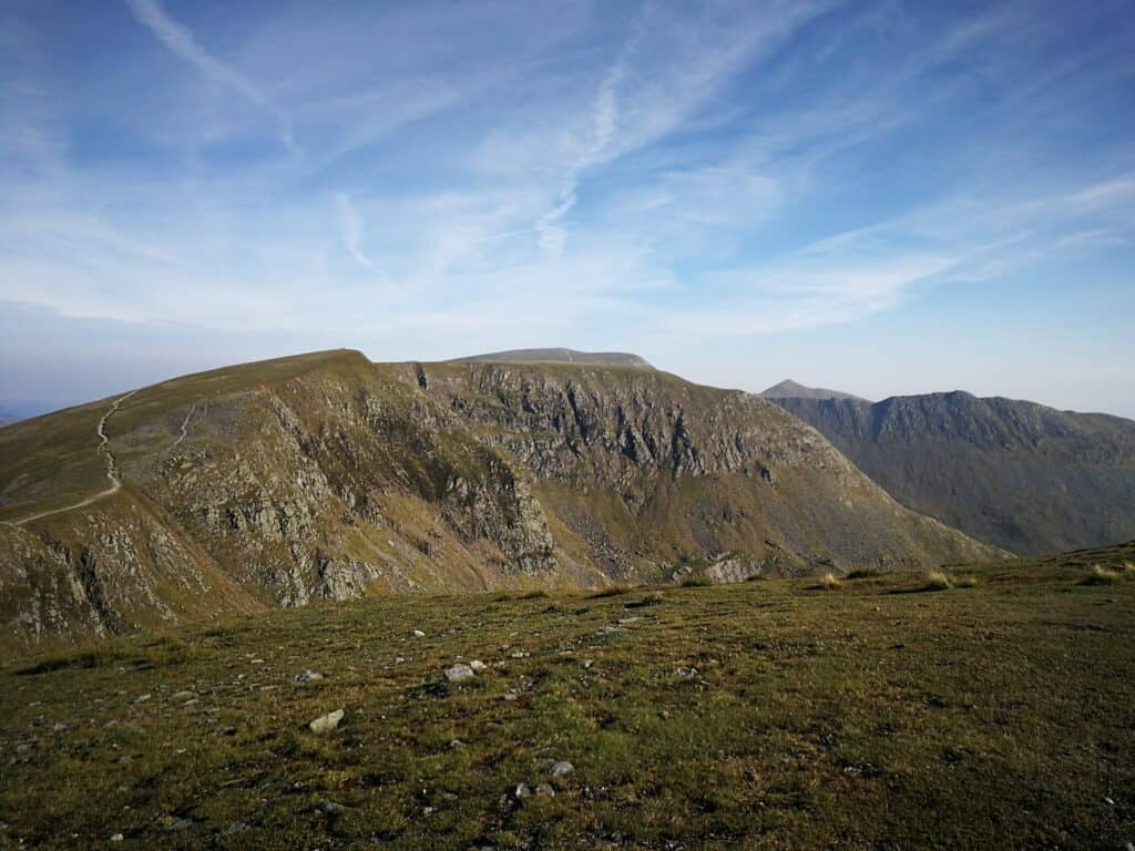 Looking across to Nethermost Pike and Helvellyn, the clear paths showing the way in the Lake District