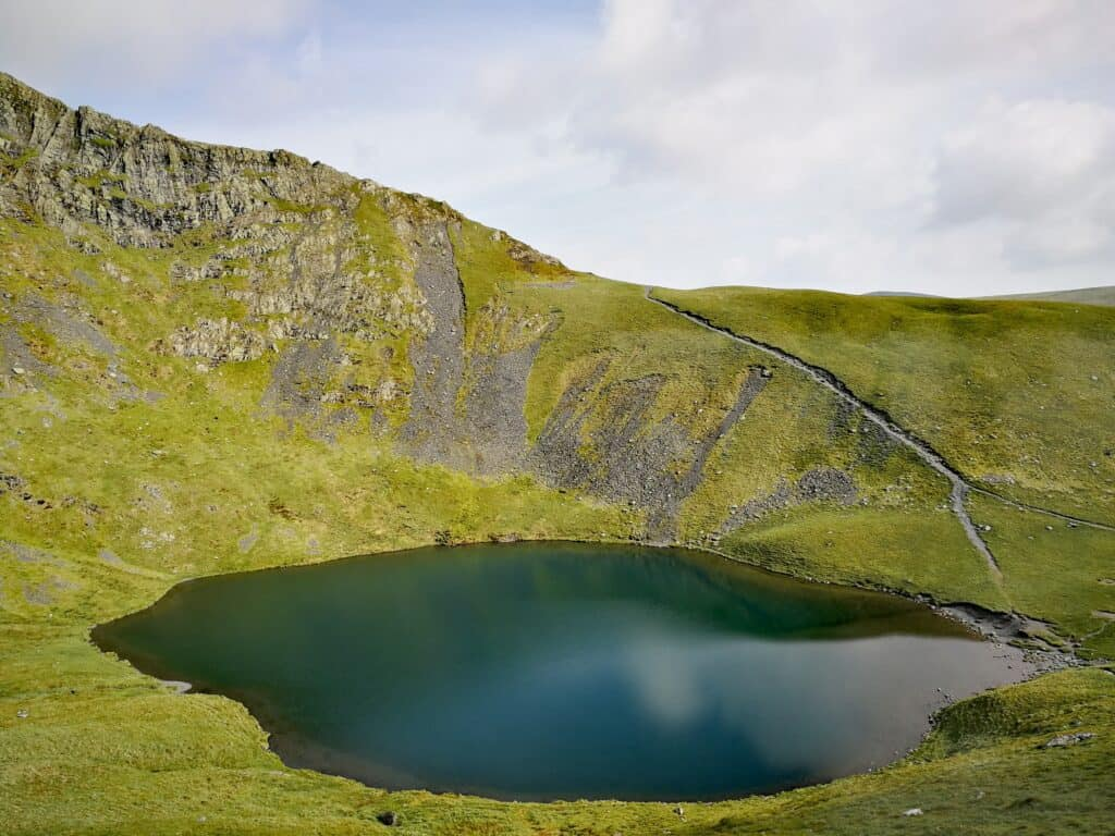 Looking back down at Scale Tarn and the alternative path that would lead you up Sharp Edge