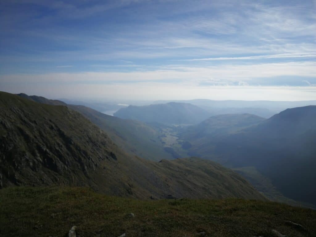 Looking down the valley from Nethermost Pike, towards Ullswater and the Fells