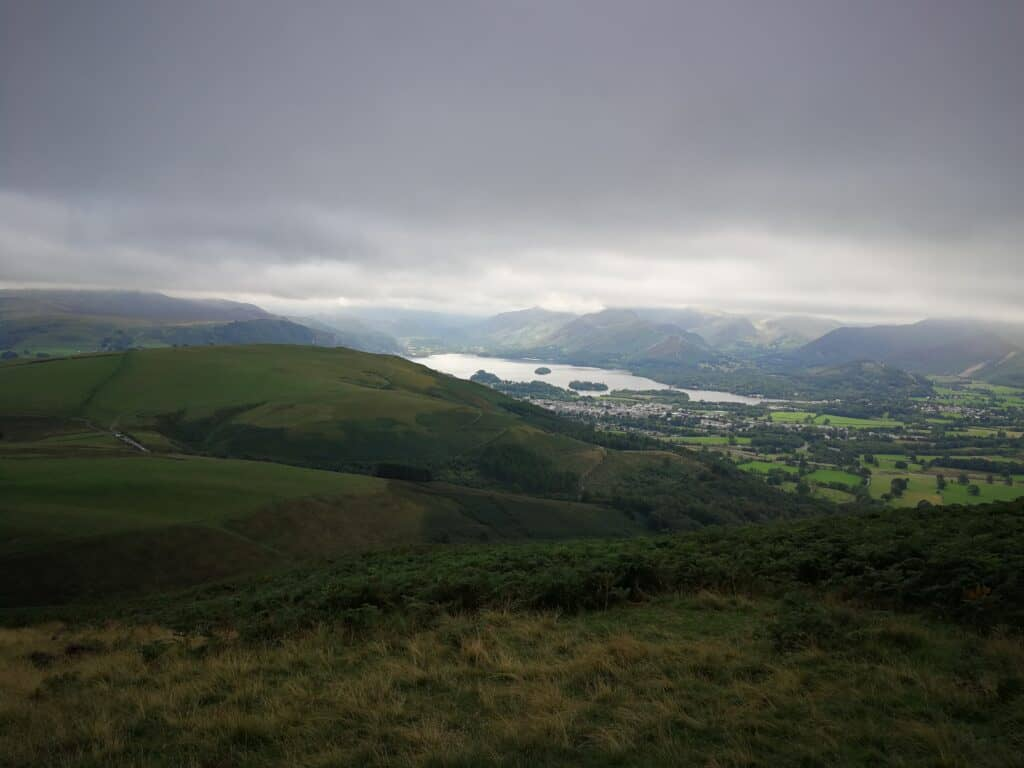 Looking out to Underskiddaw carpark, the Wainwright of Latrigg and Derwent Water in the distance