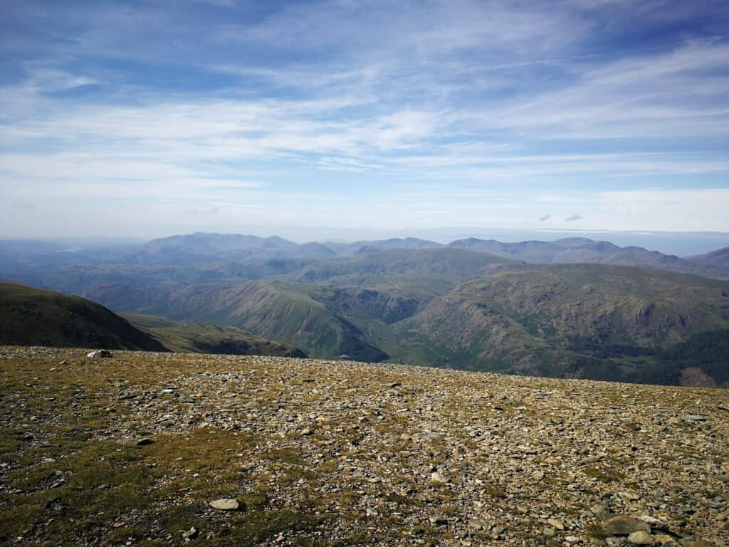 Looking south-west over the other Wainwrights in the Lake District from the summit of Helvellyn