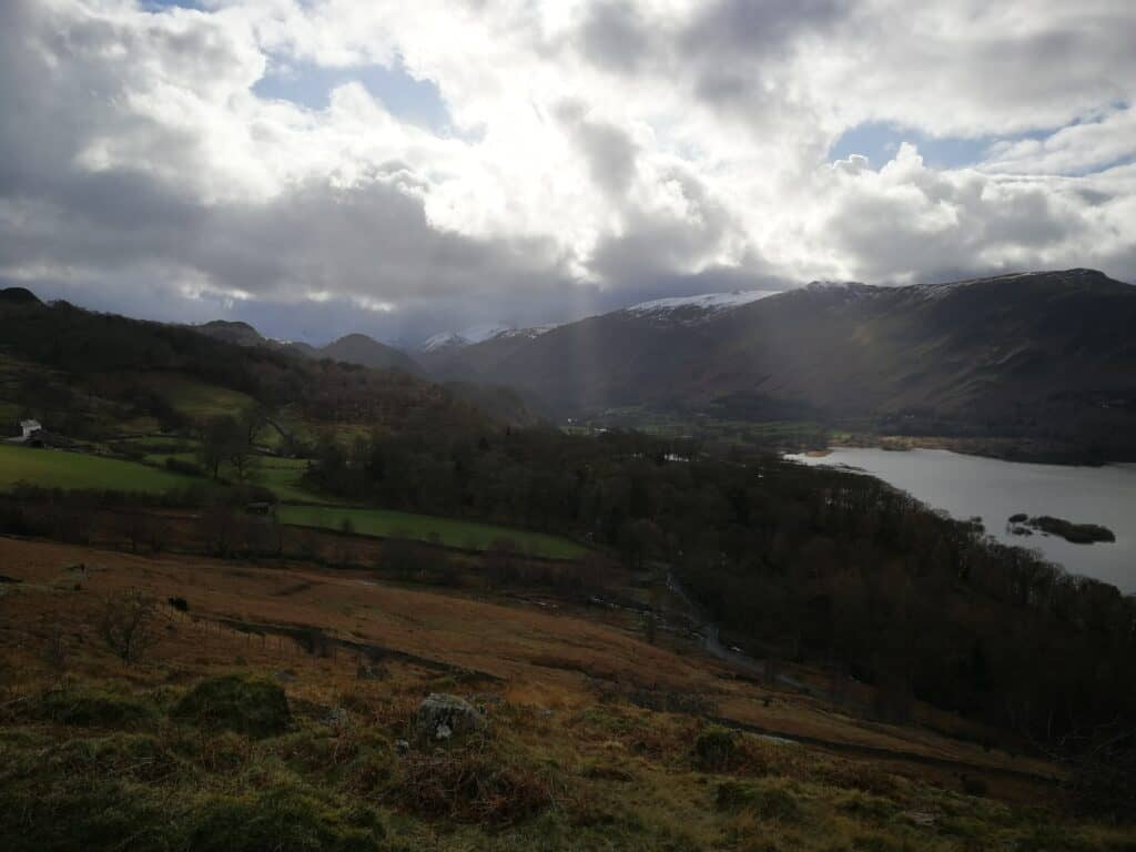 Looking towards the south at the snow-capped Wainwrights. Clouds hanging low today