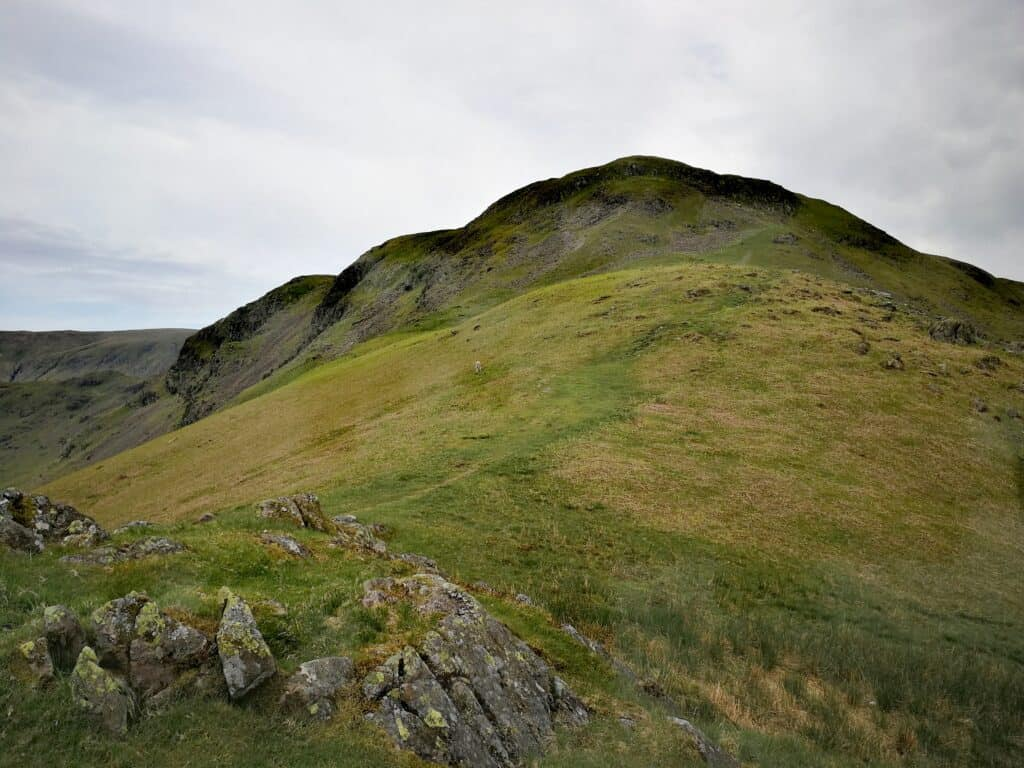 Looking up the steep grassy ridge of Cotra Breast on the walk to Steel Fell