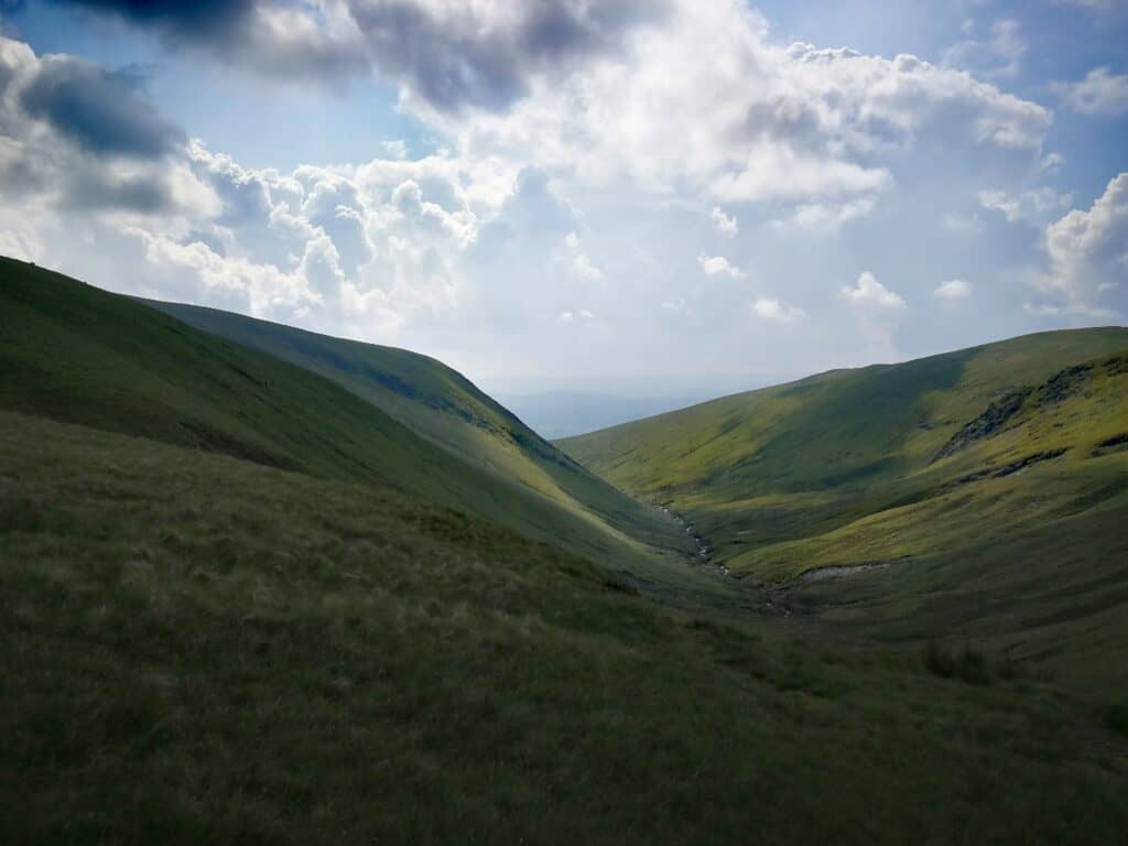 Making our way towards Bannerdale Crags from Mungrisdale Common with beautiful views on the way