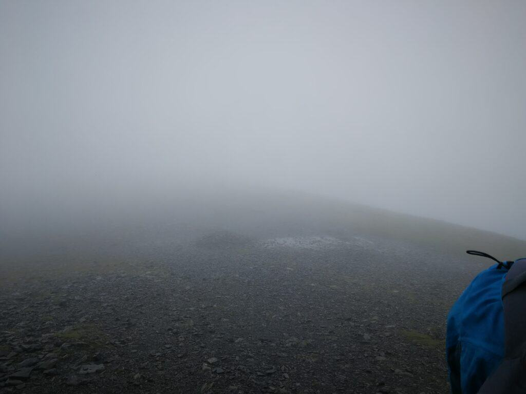 Nearly at the summit of Skiddaw, cloud still hanging in thick...