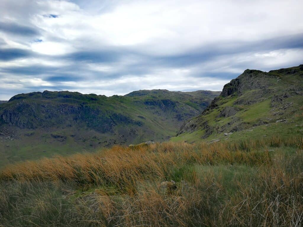On the way down from Calf Crag on the bumpy ridge of Pike of Carrs in the Lake District
